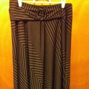 NWOT Robert Louis Gray Striped Plus Skirt 1X